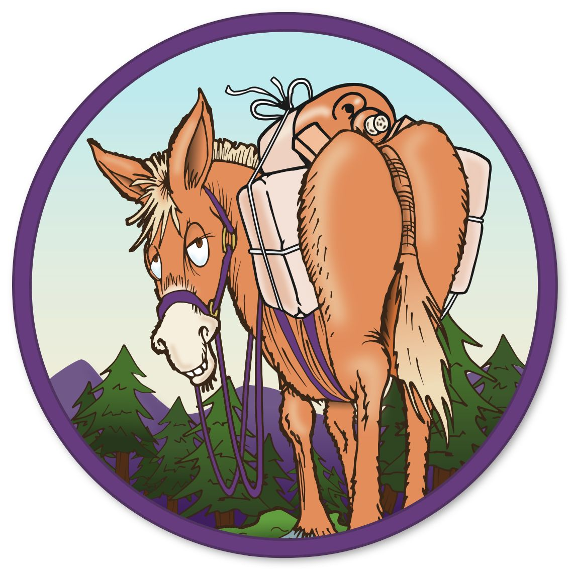 Adams' Pack Station logo. Loaded mule with mountains and trees in the background.